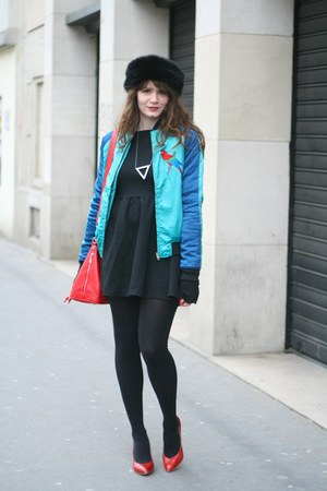 black new look dress - blue Emma Mulholland X Jennyfer jacket