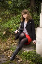 black Zara jacket - red H&M skirt - black vintage shoes