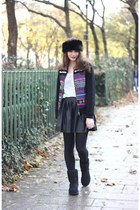 blue Derhy jacket - black Ugg boots - black PERSUNMALL skirt