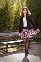 pink H&M skirt - white H&M top - black Zara jacket - black ANDRE boots