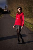 red Uniqlo sweater - black Zara shoes - black vintage skirt