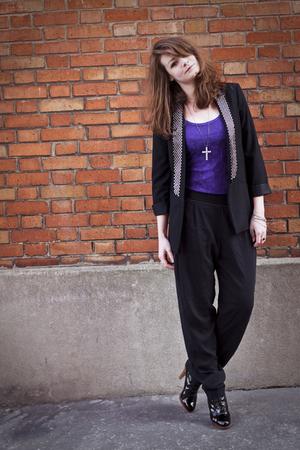 black Zara blazer - purple H&M dress - black zapa pants