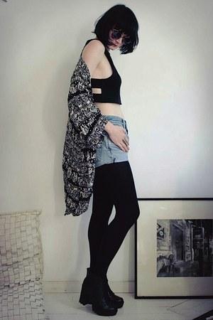 black Sheinside cardigan - black neejolie necklace