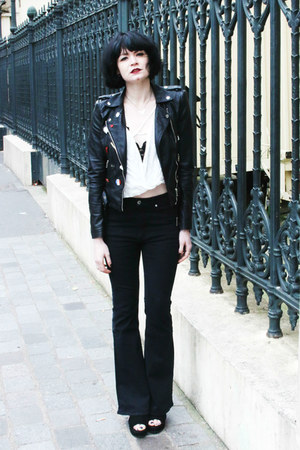 black Cheap Monday jeans - white zaful blouse