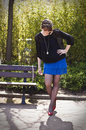 blue H&M dress - red ANDRE shoes - black Zara blouse
