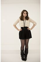 black Chantal Thomass shorts - beige Zara blouse - black Zara boots