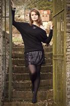 black Boohoo skirt - black Topshop sweater - black vintage shoes