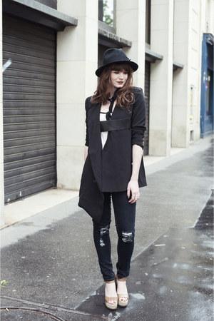 navy Boohoo jeans - black frontrow blazer