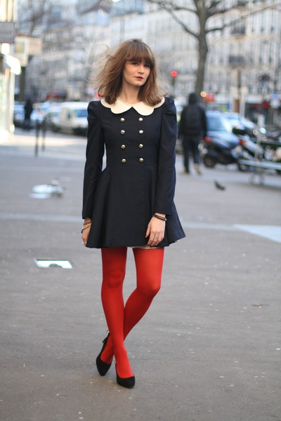 navy romwe coat
