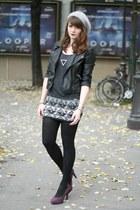 silver fashionology necklace - black biker jacket Sheinside jacket