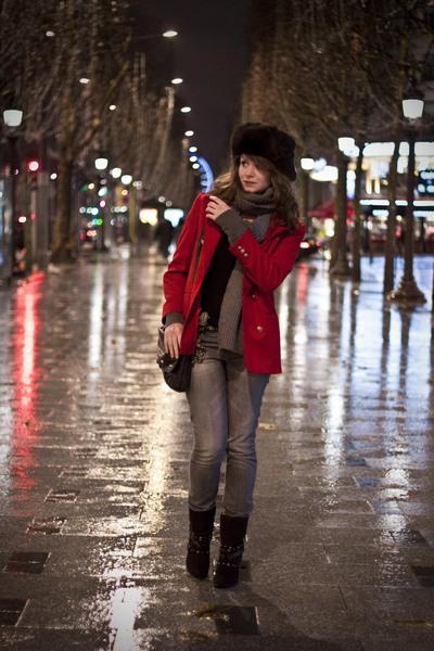gray H&M pants - red vintage blazer - black Tally boots