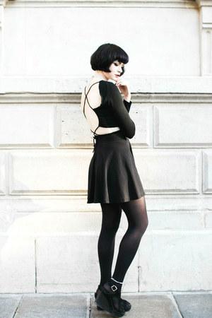 black Derhy jacket - black Sheinside top - silver dresslily necklace