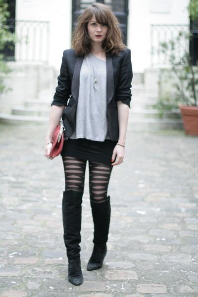 heather gray H&M sweater - black H&M skirt
