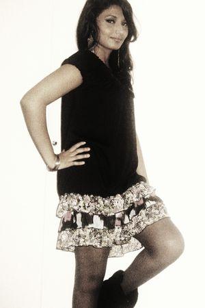 black Macys dress - black Macys boots