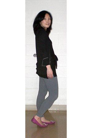 black Forever 21 dress - gray Victorias Secret leggings - pink Gap shoes - banan