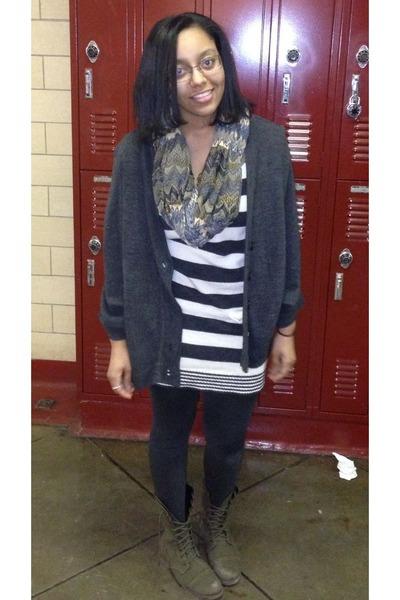 gray sweater thrift dress - dark green Target boots - dark green scarf