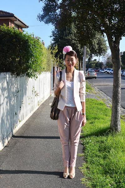 cotton Bianca Spender blazer - leather bag bulga bag - romwe t-shirt - romwe pan