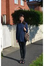 Sass and Bide leggings - silk no brand shirt - leather Zoe Kartzmann sandals - l