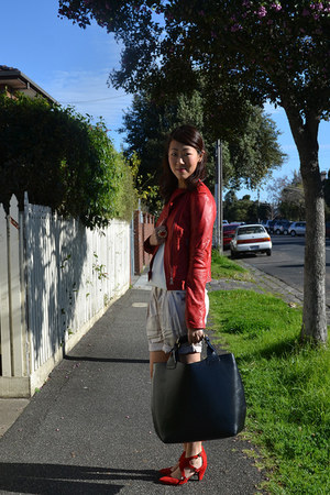 red leather Zara jacket - black leather Zara bag - ivory silk old Witchery short