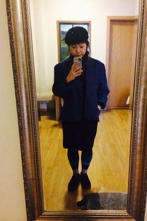 black wool belet unknown hat - blue large style vintage jacket