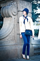 navy vintage hat - navy Gap jeans - navy vintage bag - cream vintage cardigan