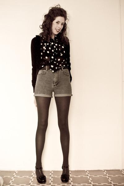 blue vintage shorts - black H&M blouse - black Chie Mihara heels