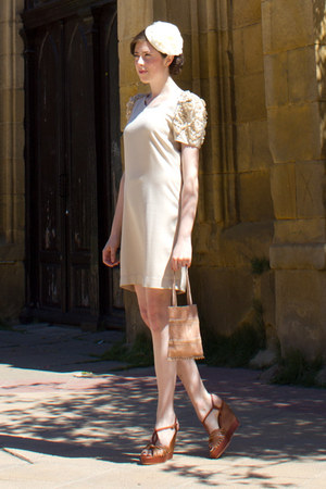 light pink SANDRO dress - ivory lukita hat - pink vintage bag - dark brown Compt