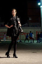 black a&m skirt - black H&M shirt - black Bimba&Lola bag - black xocoa jacket -