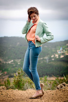 cream vintage shoes - blue Topshop jeans - light blue BLANCO jacket