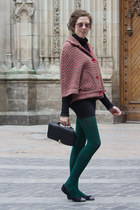 dark green tights - black hoss intropia bag - bubble gum American Apparel sungla