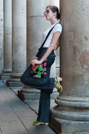 green Swedish Hasbeens shoes - blue denim victoria beckham jeans - green Ohlala