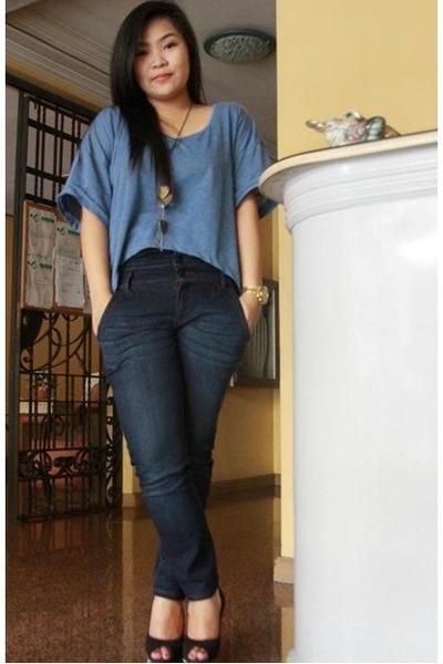 blue crop Oxygen top - Forever21 necklace - Oxygen pants