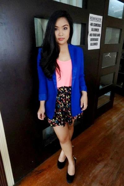 royal blue Forever 21 blazer - pink Forever 21 top - Forever 21 skirt