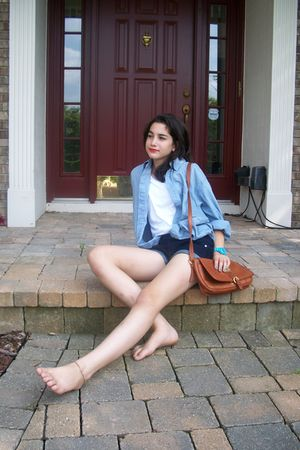 vintage bag - dads closet top - American Eagle shorts