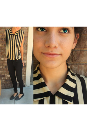 thrifted blouse - jeggings pants - Steve Madden flats