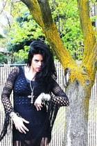 black BCBG Vintage dress - black Alexander Wang heels - silver Vintage Costume C