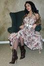 White-vintage-belt-vintage-floral-skirt-brown-boots-charlotte-russe-scarf-
