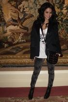 black black satin lined lapel blazer blazer - white Forever 21 top - gray Foreve