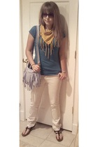 scarf - purse - jeans