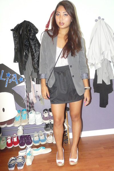 white Jessica Simpson shoes - black aa skirt - gray thrifted blazer - white UO t