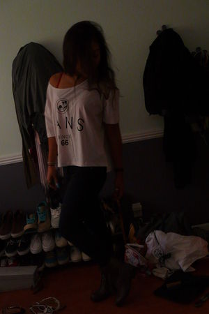 brown Forever 21 boots - black BDG jeans - pink Vans top - red Victorias Secret