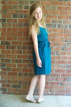 turquoise blue Target dress - nude Lower East Side flats - white pearls vintage 