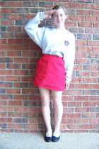 vintage - diy skirt - dartmouth vintage sweatshirt - Cooperative flats - headban