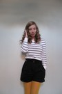 White-striped-gap-shirt-mustard-target-tights-black-h-m-shorts