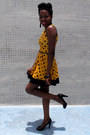 Mustard-influence-dress-black-tassel-h-m-earrings