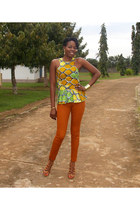 lime green self-made top - burnt orange skinny stretch H&M pants