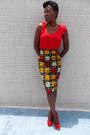 Red-vero-moda-blouse-gold-self-made-skirt