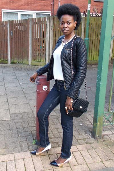 bronze Zara shoes - navy Diesel jeans - black Zara jacket - black Forever21 bag