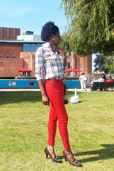 dark brown calvin klein pumps - red Zara jeans - brown Gap shirt