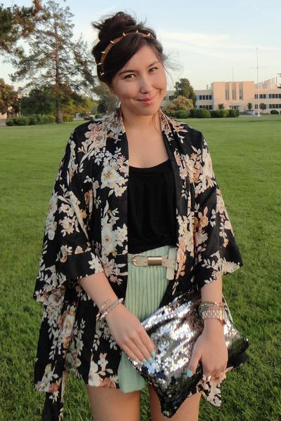 kimono vintage jacket - Love Cortnie bag - Wholesale-Dress shorts